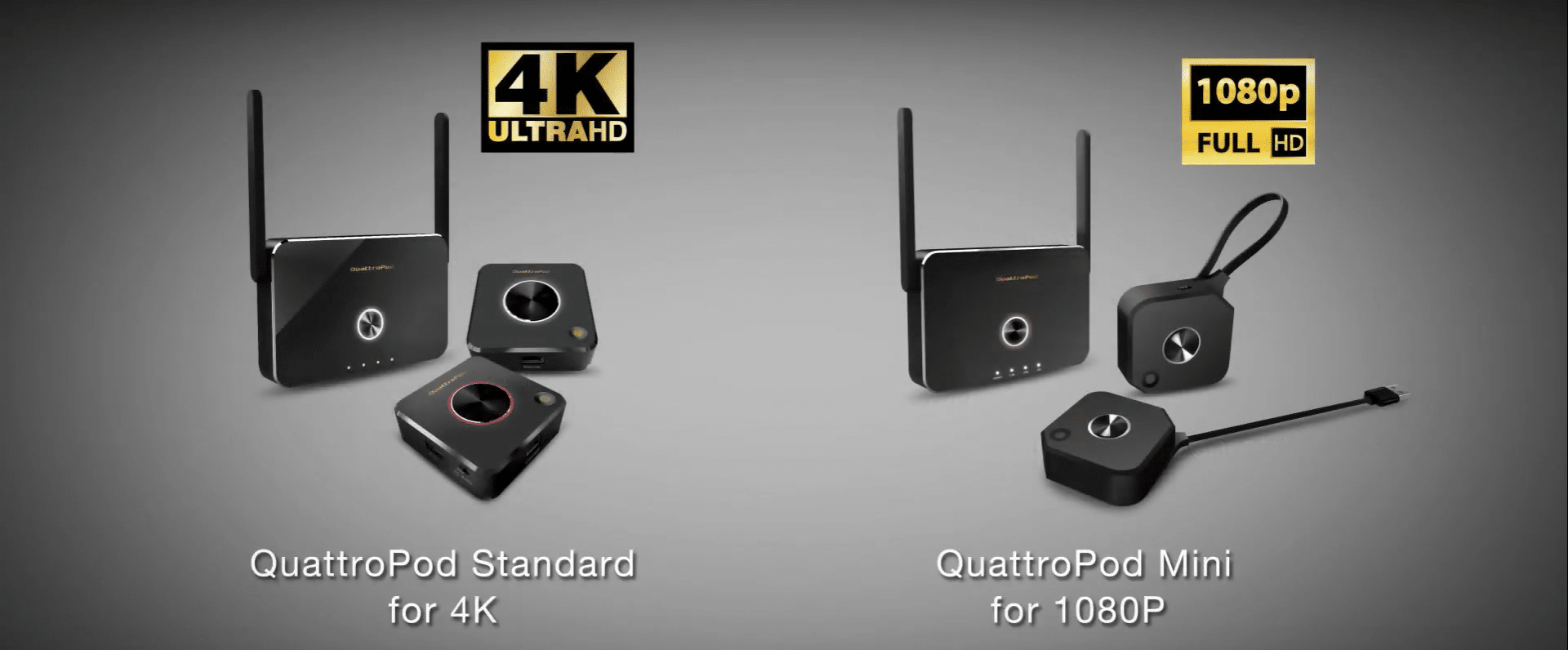 QuattroPod Standard supports 4K resolutions and QuattroPod Mini supports 1080P resolutions that fulfill different user's needs.