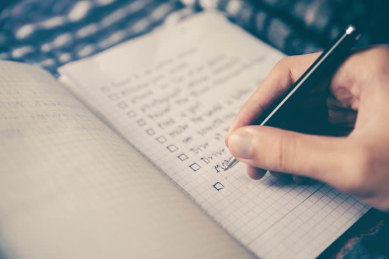 checklist, pen writing , list out